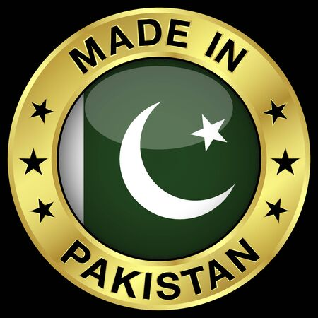 pakistani pakistan: Made in Pakistan gold badge and icon with central glossy Pakistani flag symbol and stars. Vector EPS 10 illustration isolated on black background.