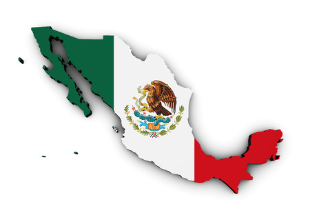 mexico map: Shape 3d of Mexico map with Mexican flag isolated on white background. Stock Photo