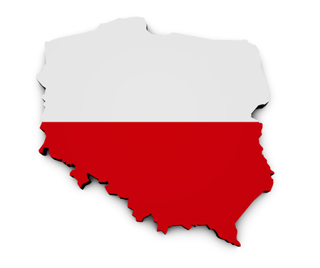 Shape 3d of Poland map with Polish flag isolated on white background. Foto de archivo