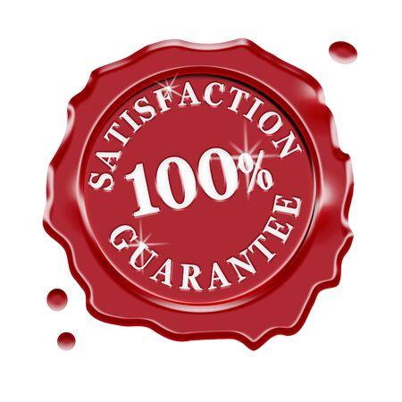 Sigillo di cera rossa con il testo centrale 100 garanzia di soddisfazione per cento isolato su sfondo bianco. Archivio Fotografico