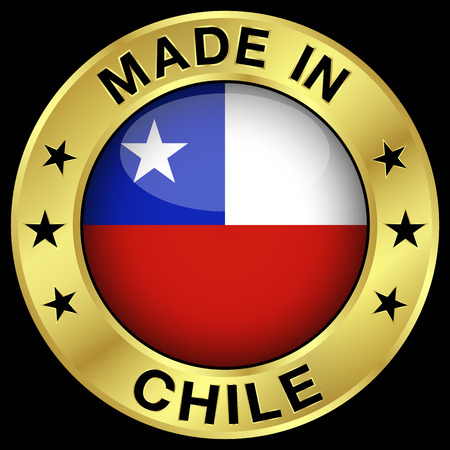 chilean flag: Made in Chile gold badge and icon with central glossy Chilean flag symbol and stars.