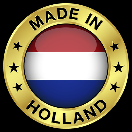 made in netherlands: Made in Holland gold badge and icon with central glossy Netherlands flag symbol and stars.