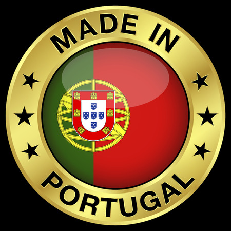 flag background: Made in Portugal gold badge and icon with central glossy Portuguese flag symbol and stars.