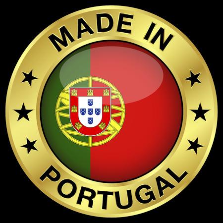 bandera de portugal: Made in Portugal insignia de oro y el icono con el brillante símbolo de la bandera portuguesa central y estrellas. Vectores