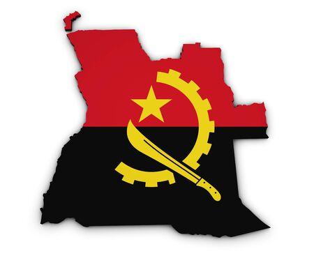 angola: Shape 3d of Angola map with Angolan flag illustration isolated on white background. Stock Photo