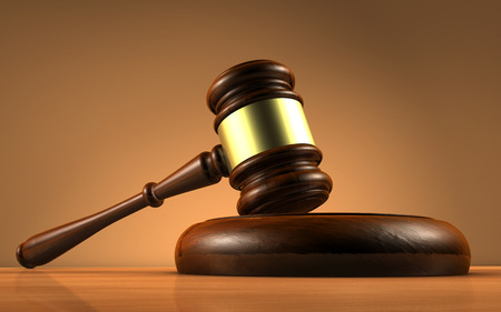lawyer court: Judge, law, lawyer and Justice concept with a close-up 3d rendering of a gavel on a wooden desktop with brown background.
