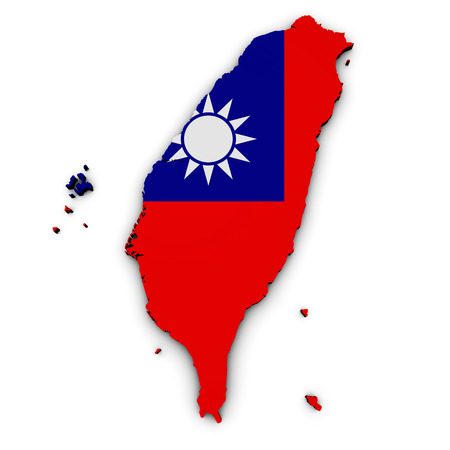 Shape 3d of Taiwan map with Taiwanese flag illustration isolated on white background. Stock Photo