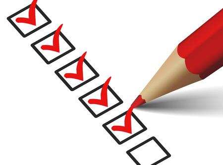 Vector vinkje symbool en het pictogram op rode checklist met pen voor zakelijke design concept en web grafisch, EPS 10 illustratie op witte achtergrond. Stock Illustratie