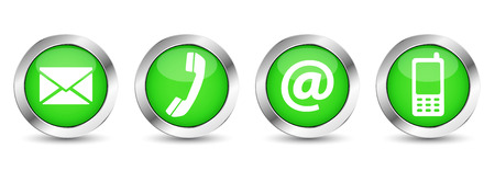contacts: Contact us web buttons set with email, at, telephone and mobile icons on green silver badge vector illustration isolated on white background.
