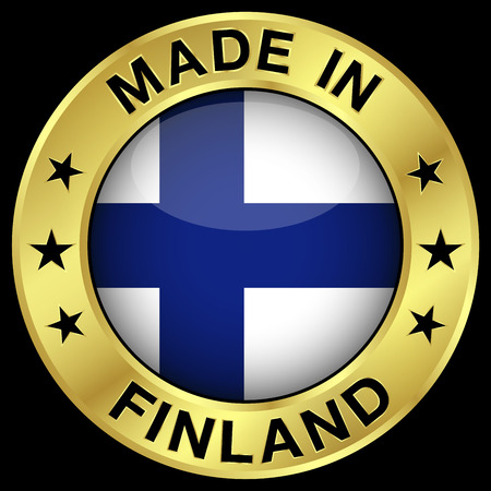 finnish: Made in Finland gold badge and icon with central glossy Finnish flag symbol and stars. Vector illustration isolated on black background.