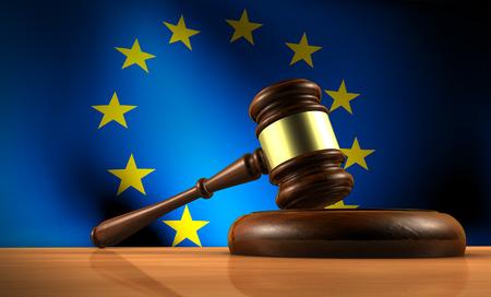 ley: Derecho de la Uni�n, la legislaci�n y el concepto de parlamento con una representaci�n 3D de un martillo sobre un escritorio de madera y la bandera de la UE en el fondo.