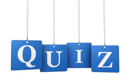 Quiz word and sign on blue hanged label tags isolated on white background.
