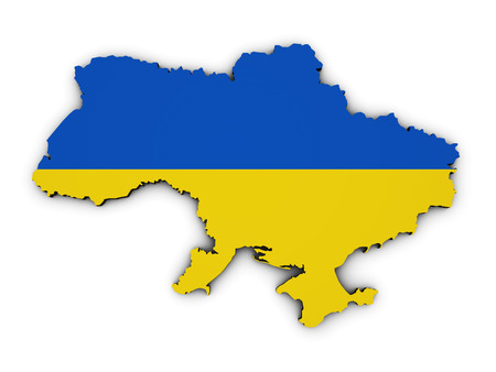 Shape 3d of Ukraine map with Ukrainian flag illustration isolated on white background. Stock Photo