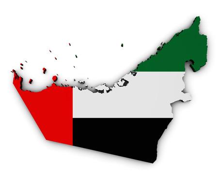 emirates: Shape 3d of United Arab Emirates map with Emirati flag symbol of UAE illustration isolated on white background.