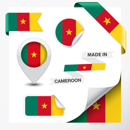 cameroonian: Made in Cameroon collection of ribbon, label, stickers, pointer, badge, icon and page curl with Cameroonian flag symbol on design element, vector EPS 10 illustration.