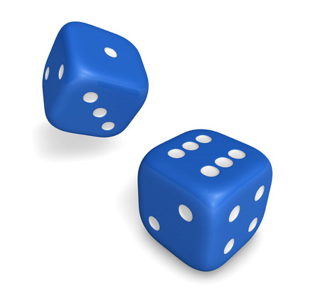 rolling dice: Rendering 3d of two rolling blue dice showing number six and one illustration isolated on white background.