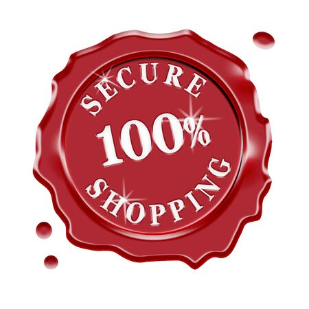 secure shopping: Red wax seal with central text 100 percent secure shopping isolated on white background.