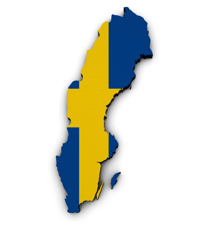 sweden map: Shape 3d of Sweden map with Swedish flag illustration isolated on white background.