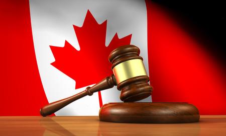 martillo juez: Ley y justicia de Canad� concepto con una representaci�n 3D de un martillo sobre un escritorio de madera y la bandera canadiense en el fondo.