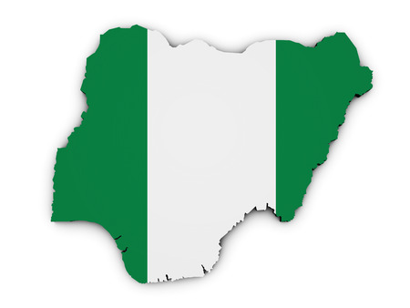 nigeria: Shape 3d of Nigeria map with Nigerian flag illustration isolated on white background.
