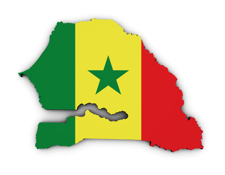 dakar: Shape 3d of Senegal map with Senegalese flag illustration isolated on white background. Stock Photo