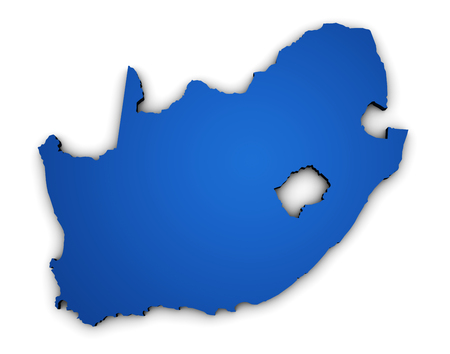 south africa map: Shape 3d of South Africa map colored in blue illustration isolated on white background.