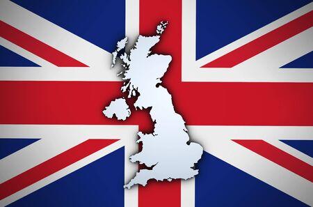 union jack flag: Shape 3d of United Kingdom map on Uk union jack flag background. Stock Photo