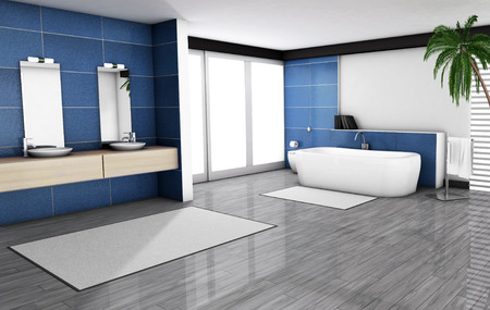 modern bathroom design: Bathroom home interior with modern fixtures, bathtub and contemporary design with blue granite tiles and wooden floor, 3d render.