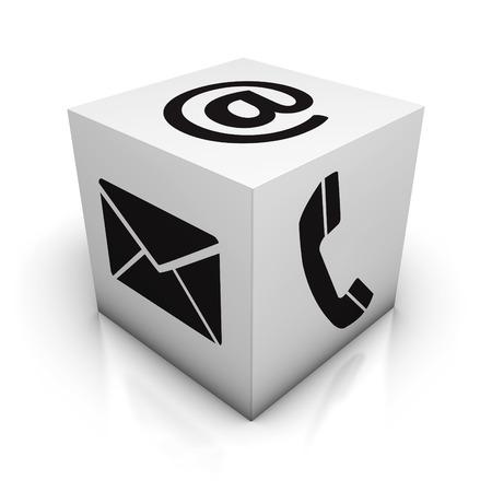 Website kontaktieren Sie uns Internet-Konzept mit E-Mail, Telefon und am schwarzen Symbole und Zeichen auf weißem Würfel mit Reflexion Wirkung für Web, Blog und Online-Geschäft auf weißem Hintergrund. Lizenzfreie Bilder