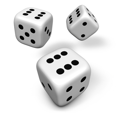 rolling dice: Rendering 3d of three rolling white dice showing number six illustration isolated on white background. Stock Photo