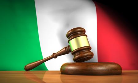 constitucion: Ley y justicia en Italia concepto con una representación 3D de un martillo sobre un escritorio de madera y la bandera italiana en el fondo.