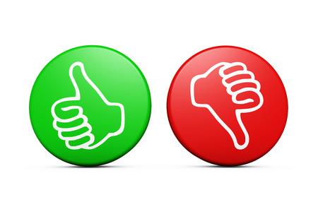Positive und negative Rückmeldungen von Kunden Bewertung und Befragung Tasten mit dem Daumen nach oben und unten-Symbol auf weißem Hintergrund. Standard-Bild