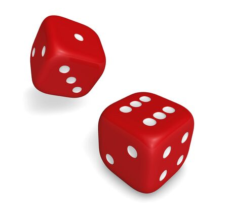Rendering 3d of two rolling red dice showing number six and one illustration isolated on white background. illustration