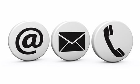Web contact us Internet concept with email, phone and at black icon and symbol on white buttons for website, blog and on line business.