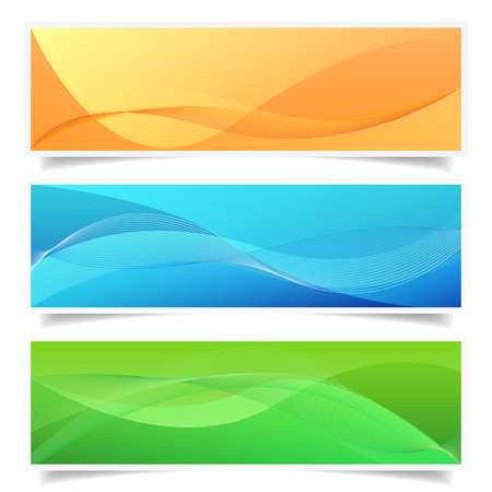 eps 10: Set of three colorful abstract web banner frames with waves lines, shadow effect and empty space for your copy. EPS 10 vector illustration isolated on white background.