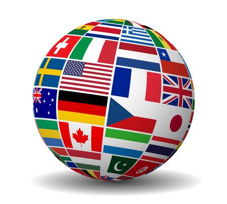 Podróż, usługi i koncepcja zarządzania przedsiębiorstwem międzynarodowym z globusem i międzynarodowymi flagi świata wektorowej EPS 10 ilustracji na białym tle.