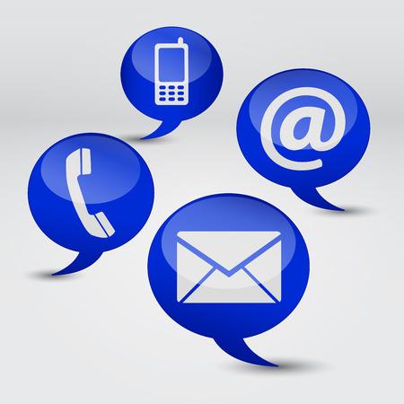 email us: Web contattaci Internet concetto con la posta elettronica, il telefono cellulare e di icona e simbolo su quattro discorso nuvole blu per il sito web, blog e sulla linea di business. Vettoriali