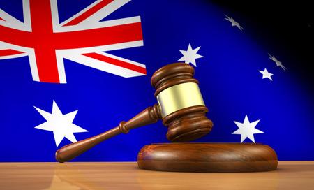 ley: La legislaci�n australiana y el concepto de la justicia con una representaci�n 3D de un martillo sobre un escritorio de madera y la bandera de Australia en el fondo.