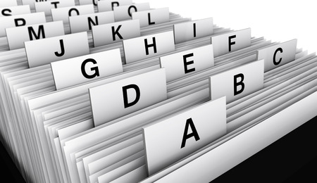Business concept with a 3d rendering close-up view of a office customers directory archive with alphabet letters. Standard-Bild