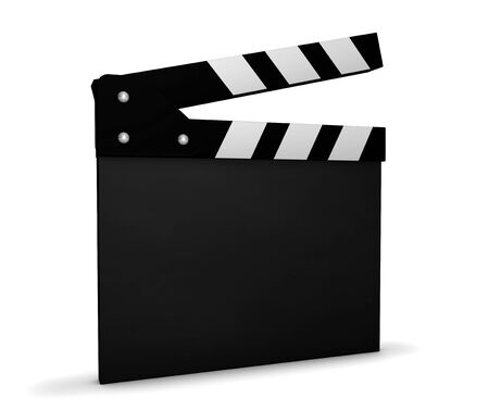 casting: Cinema, video and movie maker concept with a black and white clapperboard with blank space for your business and marketing copy on white background. Stock Photo