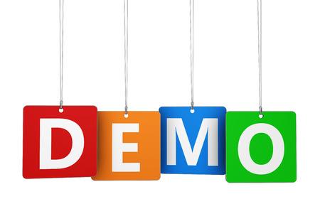 Website Business, Internet und Web-Konzept mit Demo-Wort und Zeichen auf bunten gehängt Tags isoliert auf weißem Hintergrund. Lizenzfreie Bilder