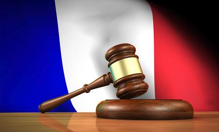gerechtigkeit: Recht und Justiz in Frankreich Konzept mit einem 3D-Rendering von einem Hammer auf einem hölzernen Schreibtisch und dem Französisch-Flag im Hintergrund.