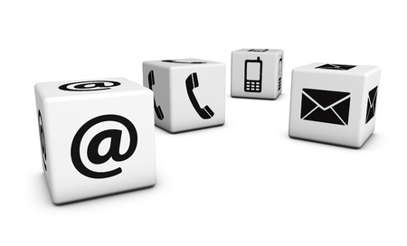 Web contact us Internet concept with email, mobile phone and at black icons and symbol on four white cubes for website, blog and on line business. Stock Photo - 39434401