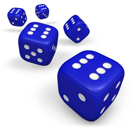 backgammon: Rendering 3d of five rolling blue dice showing number six illustration isolated on white background. Stock Photo