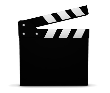 casting: Cinema, film, video and movie maker concept with a black and white clapperboard with blank space for your business and marketing copy on white background.