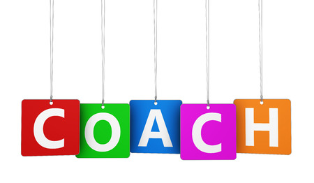 Coaching business and training concept with coach word and sign on colourful tags isolated on white background.