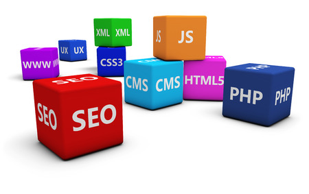 web layout: Web design development, Internet and SEO concept with programming language sign on colorful cubes isolated on white background.