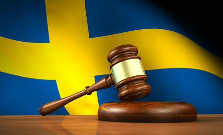 Swedish law and justice concept with a 3d rendering of a gavel on a wooden desktop and the flag of Sweden on background.