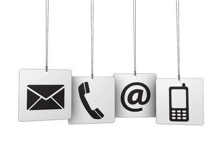 Web contact us Internet concept with email, mobile phone and at icon and symbol on four hanged tags for website, blog and on line business.