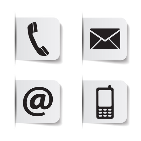 Web contact us black icons with telephone, email, mobile phone and at symbol on paper labels with shadow effects EPS 10 vector illustration isolated on white background.